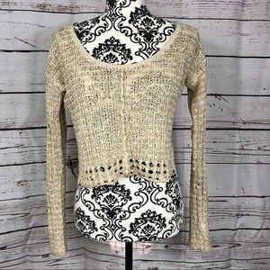 Free People Cropped Open Knit Linen Sweater XS